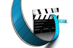 Clapper Board and Reel. Dynamic 3d Clapper board and film reel in blue and black on white back drop Stock Images