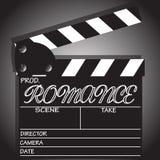 Clapper Board Romance. A director`s `Romance` clapper board  on a white background Stock Photo