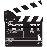 Clapper Board Sci-Fi. A director`s `sci-fi` clapper board isolated on a white background Stock Photography