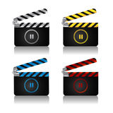 Clapper board set. A set of movie clapper boards with pause icon for web Royalty Free Stock Images