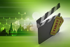 Clapper board with ticket Stock Image