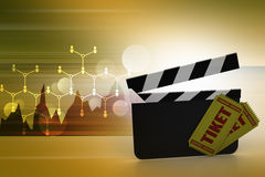 Clapper board with ticket Stock Photo