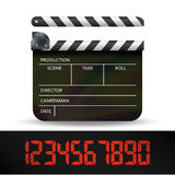 Clapper Board Vector. Digital Film Movie Clapper Board With Red Digital Numbers. Clapper Board Vector. Digital Film Movie Clapper Board With Red Digital Number Royalty Free Stock Images