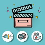 Clapper board with video filmstrips, video camera and horn. Vector illustration Royalty Free Stock Images