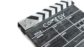 Clapper board on white background Title Comedy Stock Image