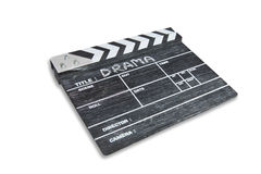 Clapper board on white background Title Drama stock images