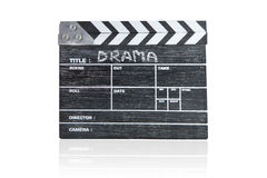 Clapper board on white background Title Drama. Wooden clapper board on white background Title Drama Royalty Free Stock Photos