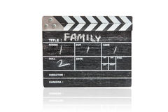 clapper board on white background Title Family Royalty Free Stock Photography