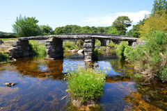 Clapper bridge in Dartmoor royalty free stock photo