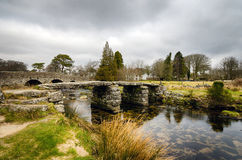 Clapper Bridge in Darmoor, Devon. Clapper bridge at Postbridge on Dartmoor Royalty Free Stock Images