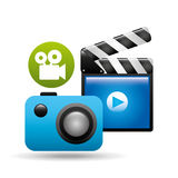 Clapper camera video player concept design Royalty Free Stock Image