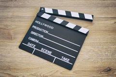 Clapper deska, filmu clapper na drewnie fotografia royalty free