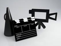 Clapper deska i stara kamery 3d ilustracja ilustracji