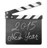 Clapper deska z 2015 nowy rok tekstem odizolowywającym Obrazy Royalty Free