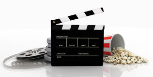 Clapper, film strip, popcorn. Isolated on white background Royalty Free Stock Image