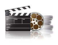 Clapper and film. On white Stock Images
