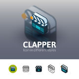 Clapper icon in different style Stock Photos