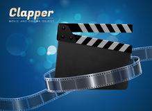 Clapper movie cinema object. Clapper cinema movie theater object on bokeh background Stock Photography