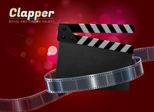 Clapper movie cinema object vector illustration. Clapper cinema movie theater object on bokeh background v Stock Images