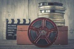 Clapperboard и вьюрок фильма стоковое фото rf