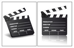 Clapperboard. In different view angles Royalty Free Stock Photography