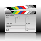 Clapperboard. Vector modern colored clapperboard with whiteboard Stock Photos