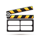 Clapperboard. Black. Stop frame. Clapperboard. Black and white. Stop frame. Illustration Royalty Free Stock Image