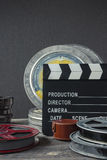 Clapperboard,  a box of film and lens Royalty Free Stock Images