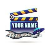 Clapperboard. Cinema. Illustration. Clapperboard. Self made movie. Illustration Stock Image