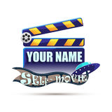 Clapperboard. Cinema. Illustration. Clapperboard. Self made movie. Illustration Royalty Free Stock Image