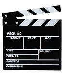 Clapperboard. Classic black movie clapper board isolated on white Stock Photography