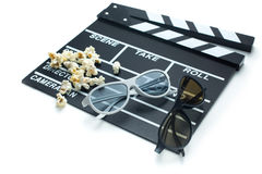 Clapperboard with 3d glasses Stock Photo