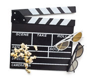 Clapperboard with 3d glasses Stock Photos