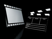 Clapperboard, 3d illustration. Clapper board and film, 3d illustration.  Cinema concept Royalty Free Stock Photo