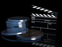 Clapperboard e rolo de película do cinema Fotos de Stock