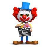 clapperboard för clown 3d Fotografering för Bildbyråer