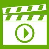 Clapperboard für Filmschießen-Ikonengrün Lizenzfreie Stockbilder