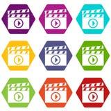 Clapperboard für gesetztes hexahedron Farbe der Filmschießenikone Lizenzfreie Stockbilder