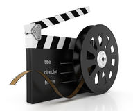 Clapperboard and film reel. On white background. 3d rendered image Stock Image