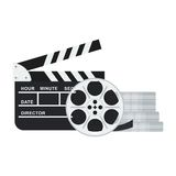 Clapperboard and film reel. Black clapper board for film and film reel and twisted cinema tape. Flat vector cartoon illustration. Objects isolated on a white Stock Photos