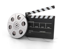 Clapperboard and film reel. Isolated on white background. 3d rendered image Royalty Free Stock Photos