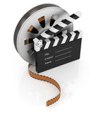 Clapperboard and film reel. On white background, 3d cinema concept Royalty Free Stock Image
