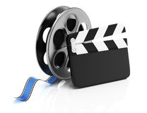 Clapperboard and film reel. On white background. 3d rendering illustration Royalty Free Stock Images