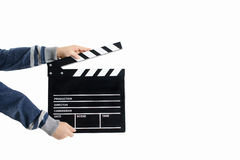 Clapperboard hold by child's hands Stock Images