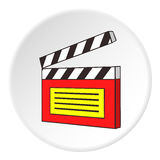 Clapperboard icon, cartoon style. Clapperboard icon. Cartoon illustration of clapperboard vector icon for web Stock Image