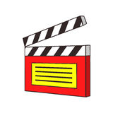 Clapperboard icon, cartoon style. Clapperboard icon in cartoon style isolated on white background. Film symbol Stock Images