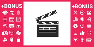 Clapperboard icon symbol. Clapperboard icon. Element for your design Royalty Free Stock Photo