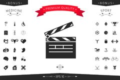Clapperboard icon symbol. Clapperboard icon. Element for your design Stock Photography