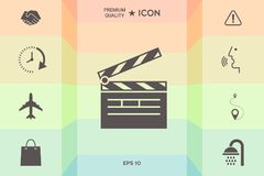 Clapperboard icon symbol. Clapperboard icon. Element for your design Royalty Free Stock Photos