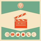 Clapperboard icon symbol. Clapperboard icon. Element for your design Royalty Free Stock Images